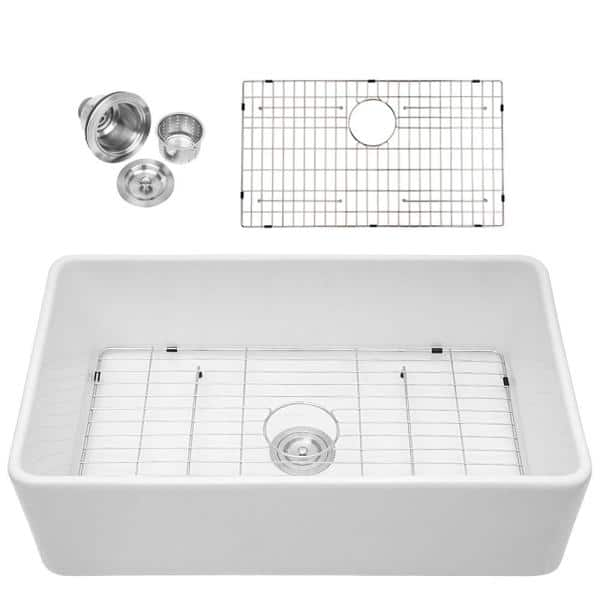Matrix Decor Fireclay 33 In Single Bowl Farmhouse Apron Front Porcelain Ceramic Kitchen Sink In White Saw3320r1 The Home Depot