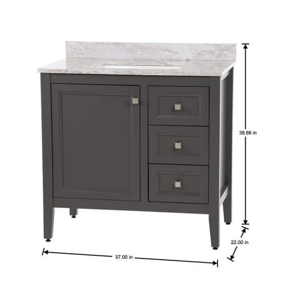 Moen Darcy 37 In W X 22 In D Bath Vanity In Shale Gray With Stone Effects Vanity Top In Winter Mist With White Sink Dc36p2v3 Sy The Home Depot