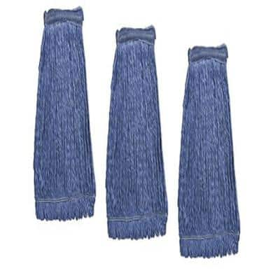 Cleaning Mop Heavy Duty Commercial Replacement, Wet Industrial Blue Cotton Looped End String Head Refill (Pack of 3)