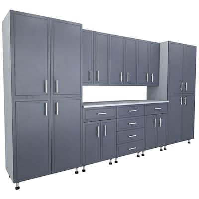 80.5 in. x 144 in. x 21 in. ProGarage Premium Storage Systems in Gray (9-Pieces)