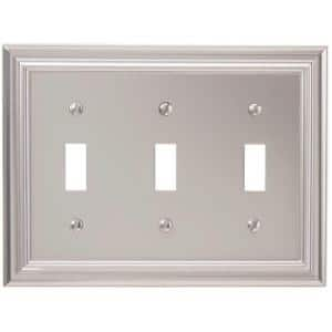Continental 3 Gang Toggle Metal Wall Plate - Satin Nickel