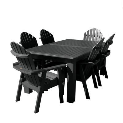 Hamilton Black 7-Piece Recycled Plastic Rectangular Outdoor Dining Set