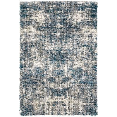 Nordic Blue 2 ft. x 3 ft. Abstract Shag Scatter Area Rug