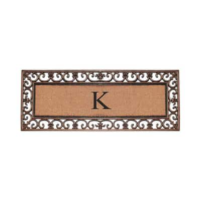 Paisley Border Bronze 17.71 in. x 47.25 in. Rubber and Coir Double Door Monogrammed K Door Mat