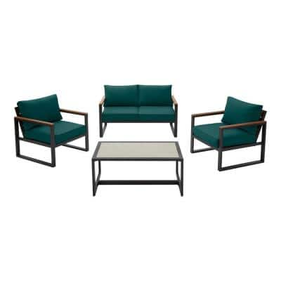 West Park 4-Piece Black Aluminum Outdoor Patio Conversation Set with CushionGuard Malachite Green Cushions
