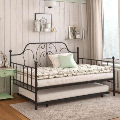 Lucy Black Metal Full/Twin Daybed and Trundle