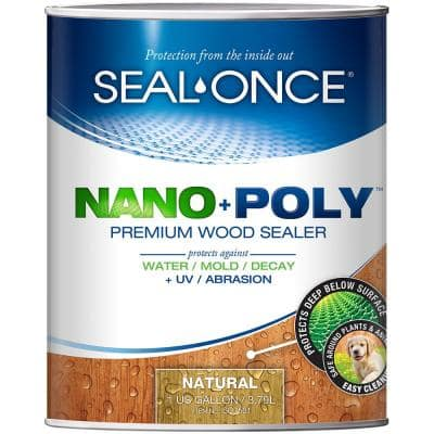 Seal-Once 1 gal. Natural Ready Mix Exterior Penetrating Wood Stain and Sealer with Polyurethane