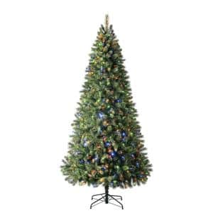 9 ft Wesley Long Needle Pine LED Pre-Lit Artificial Christmas Tree with 650 Color Changing Mini Lights