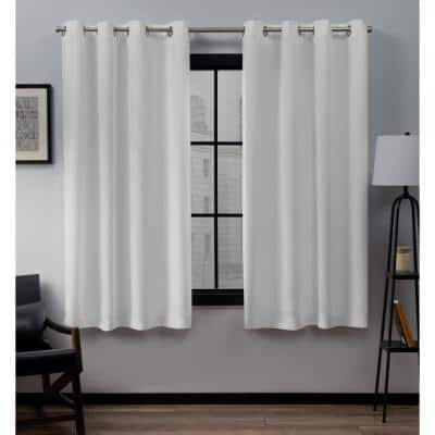 Loha Winter White Solid Polyester 54 in. W x 63 in. L Grommet Top Light Filtering Curtain Panel (Set of 2)