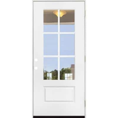 36 in. x 80 in. Legacy 6 Lite 3/4 Lite Clear Glass Left Hand Outswing White Primed Fiberglass Prehung Front Door