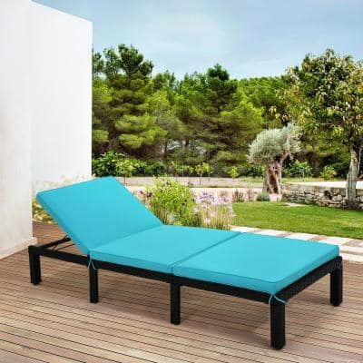 Black Adjustable PE Rattan Wicker Chaise Lounge with Blue Cushion