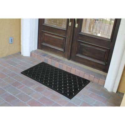 A1HC Scrollwork Beautifully Hand Finished for Indoor/Outdoor Use Black 18 in. x 48 in. Rubber Doormat
