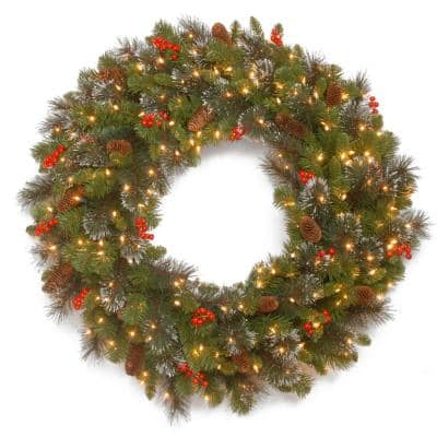 Crestwood Spruce 36 in. Artificial Wreath with Clear Lights