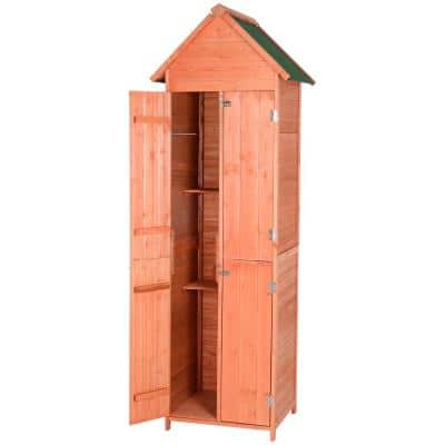 Solid Pine Wood Lockable 4-Door Storage Shed with Shelving for Your Backyard Garden Organization Needs