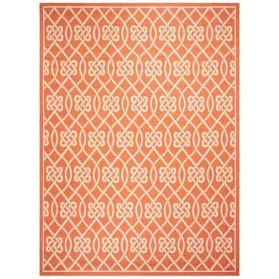 Courtyard Terracotta/Light Beige 8 ft. x 11 ft. Indoor/Outdoor Area Rug