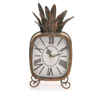 Copper Patina Rustic Pineapple Metal Battery Operated Table Clock