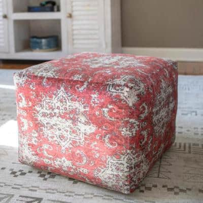 Olivia Red Square Pouf
