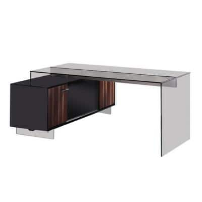 Valerie 29.5 in. Glass and Stained Wood Office Desk with a Storage Cabinet