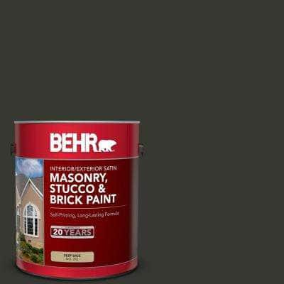 1 gal. #T13-3 Black Lacquer Satin Interior/Exterior Masonry, Stucco and Brick Paint