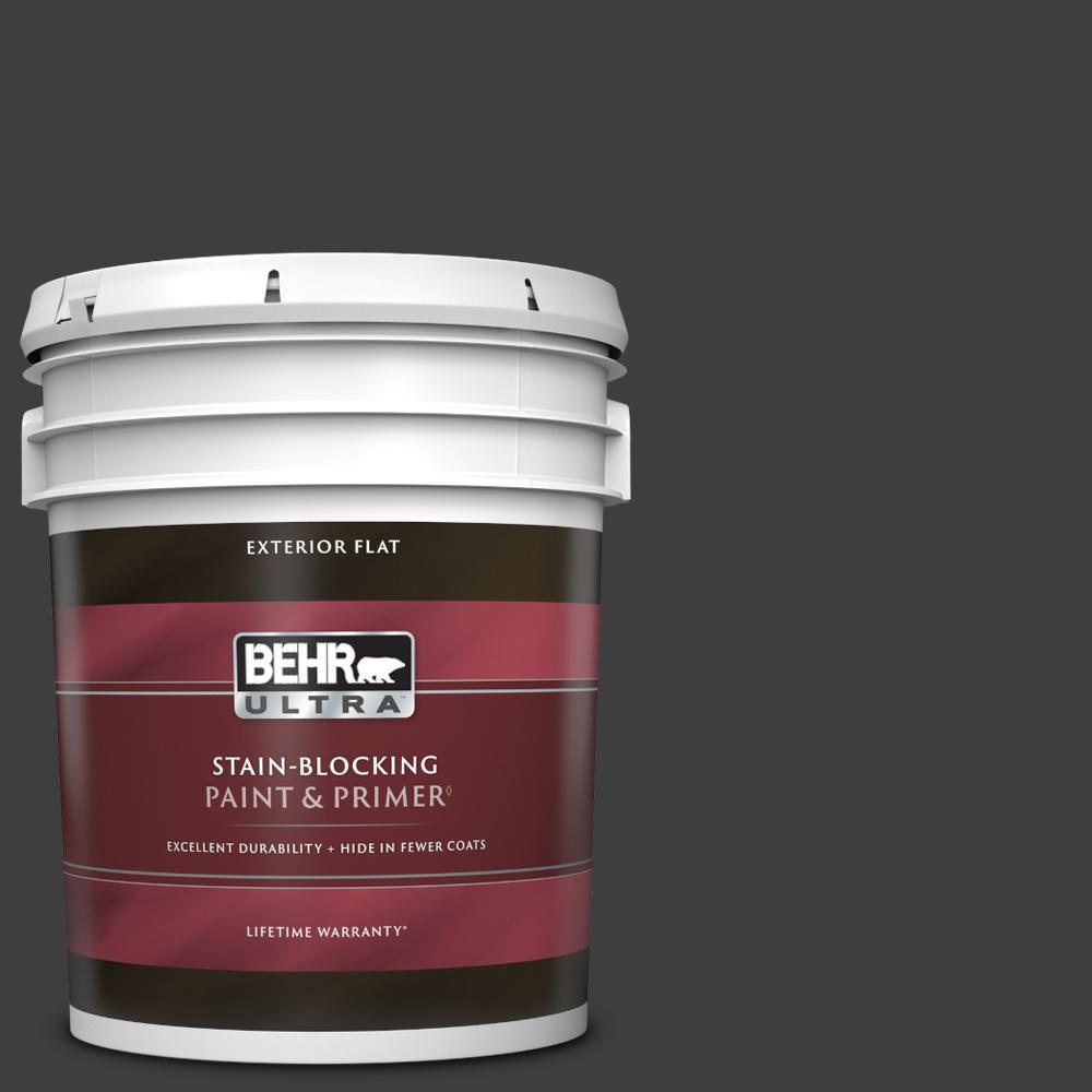 5 gal. #T13-3 Black Lacquer Flat Exterior Paint & Primer