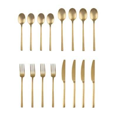 Beacon 16-Piece Gold Satin 18/0 Stainless Steel Flatware Set (Service for 4)