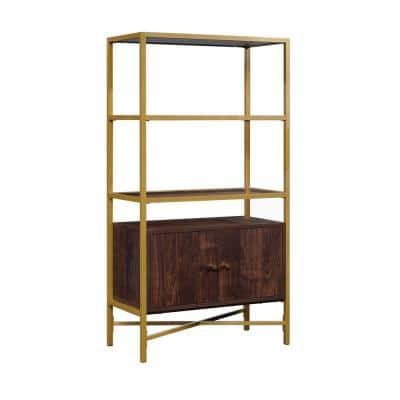 Harper Heights 51.575 in.H Rich Walnut 5-Shelf Bookcase with Doors