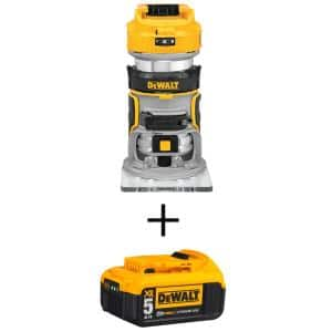 20-Volt MAX XR Cordless Brushless Compact Router with (1) 20-Volt Battery 5.0Ah