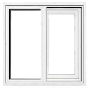 23.5 in. x 23.5 in. V-1500 Series White Left-Handed Vinyl Sliding Window with Fiberglass Mesh Screen
