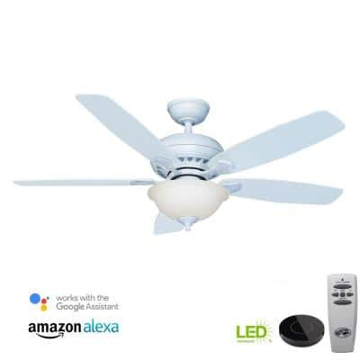 Southwind 52 in. Indoor LED Matte White Dry Rated Ceiling Fan with Light Kit Works with Google Assistant and Alexa