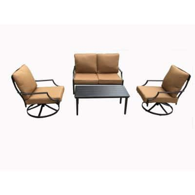 Alicia Black 4-Piece Steel Outdoor Dining Set with Yellow Cushion