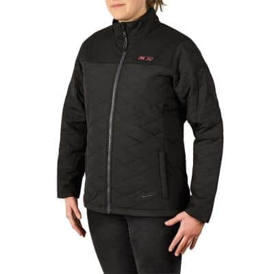 Women's Medium M12 12-Volt Lithium-Ion Cordless AXIS Black Heated Quilted Jacket Kit with (1) 2.0Ah Battery and Charger