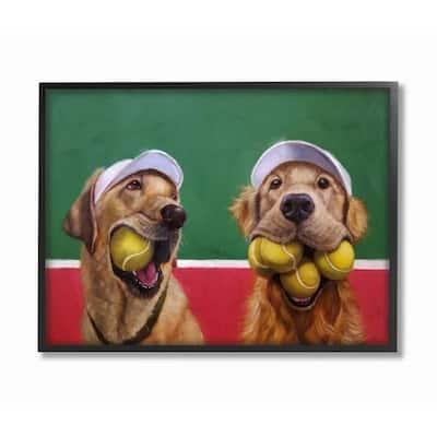 "16 in. x 20 in. ""Mouth Full Tennis Ball Retriever Dogs Painting"" by Lucia Heffernan Framed Wall Art"