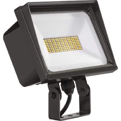 Contractor Select QTE Line Voltage 500-Watt Equivalent Bronze Yoke Mount Integrated LED Landscape Flood Light 4000K