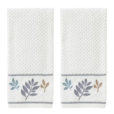 Pencil Leaves Collection Natural 100% Cotton Hand Towel (2-Pack)