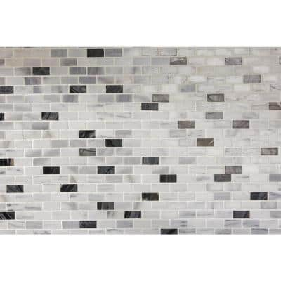 Snow Illusion 2-5/8 in. x 12 in. Marble Decorative Accent Wall Tile (0.2188 sq. ft./ piece)