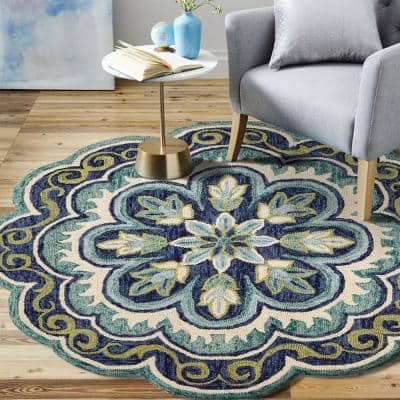 Dazzle LR54076-GRN60RD Green Round 6 ft. x 6 ft. Indoor Area Rug