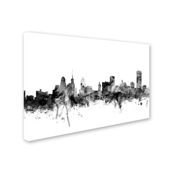 Trademark Fine Art Buffalo New York Skyline Black And White By Michael Tompsett Floater Frame Architecture Wall Art 22 In X 32 In Mt1081 C2232gg The Home Depot