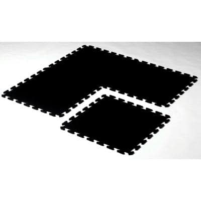 Solid Black 24 in. x 24 in. Recycled Rubber Center Floor Tile (24 sq. ft.)