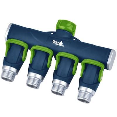 Thumb Control Metal 4-Way Hose Manifold Faucet Splitter