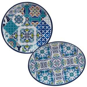 Mosaic 2-Piece 14 in. Round and 18 in. Oval Multicolored Melamine Platter Set
