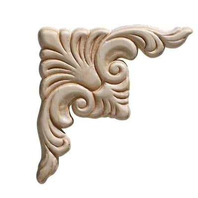 3319PK 7/32 in. x 3-3/4 in. x 3-3/4 in. Birch Acanthus Corner Onlay Ornament Moulding (2-Pack)