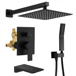 Wall Mount Single-Handle 1- -Spray Tub and Shower Faucet with 10 in. Fixed shower head in Matte Black (Valve Included)