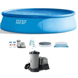 18 ft. Round 48 in. D Inflatable Pool and 2500 GPH Cartridge Filter Pump