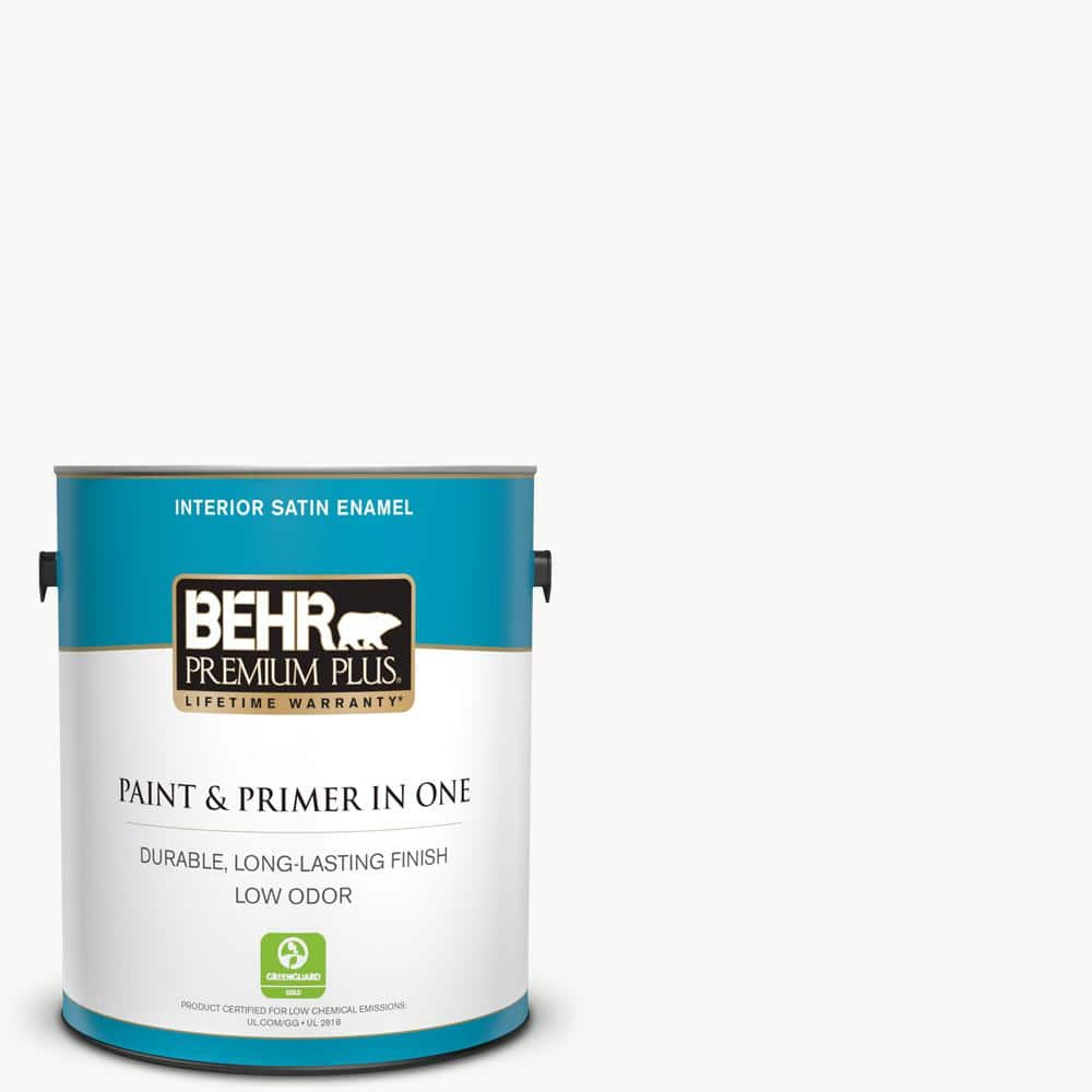 Behr Premium Plus 1 Gal Ultra Pure White Satin Enamel Low Odor Interior Paint And Primer In One 705001 The Home Depot