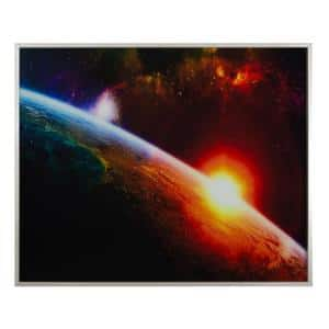 Tempered Glass Series ''Setting Sun'' Framed Astronomy Photography Wall Art 40 in x 50 in