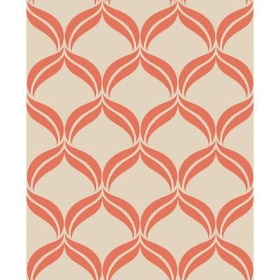 Petals Orange Ogee Orange Wallpaper Sample
