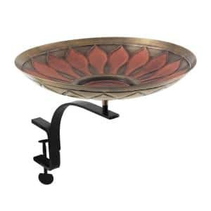 16 in. W Antique and Patina Red African Daisy Birdbath with Rail Mount Bracket