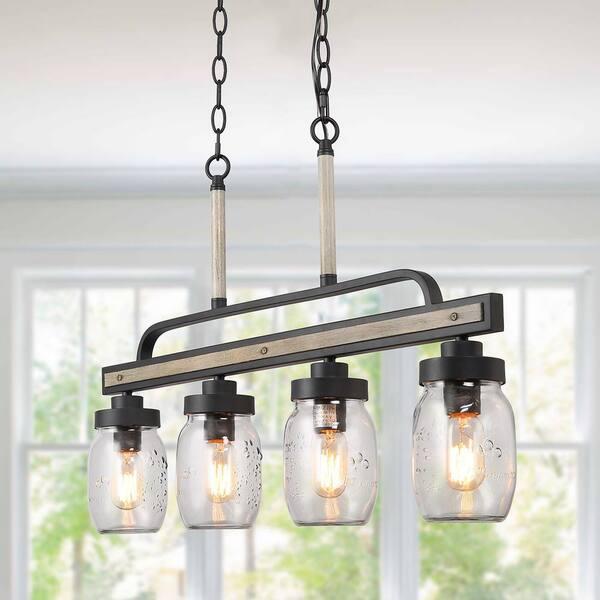 4 Light Rustic Black Linear Pendant, Home Depot Chandeliers Modern Farmhouse