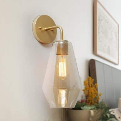 Aerors 7 in. Satin Brass Wall Sconce with Hand Blown Smoke Cylinder Glass Shade