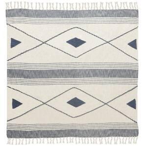 Coastal Edge Blue/White Geometric Diamond Cotton Throw Blanket with Fringe